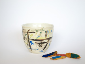 Azzone Alessandra Handmade, brush strokes, ceramics, coffee, colorful, colours, cup, serving bowl, sgraffito, small, stoneware, tea, white