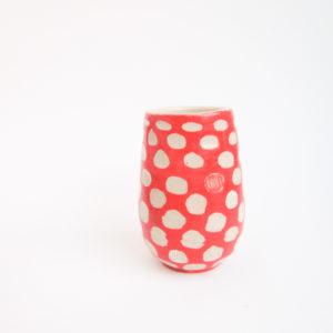 Azzone Alessandra Handmade, carving, red, small, stoneware, vase