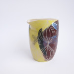 Azzone Alessandra Handmade, brush strokes, ceramics, colours, creamer, green, pitcher, pottery, pourer, purple, sgraffito, stoneware, yellow