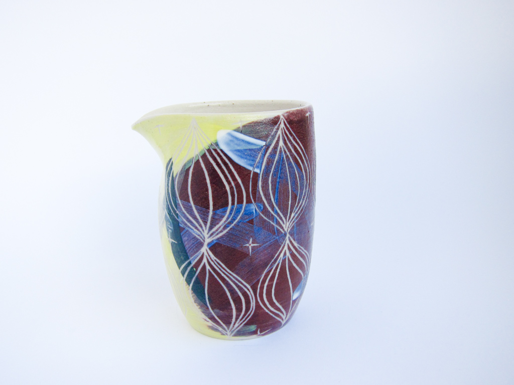 Azzone Alessandra Handmade, brush strokes, ceramics, creamer, green, pitcher, pottery, pourer, purple, sgraffito, stoneware, yellow