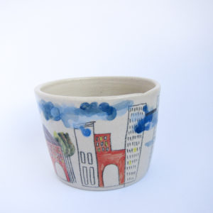 Azzone Alessandra Handmade, blue, ceramics, colours, pottery, red, serving bowl, stoneware, white