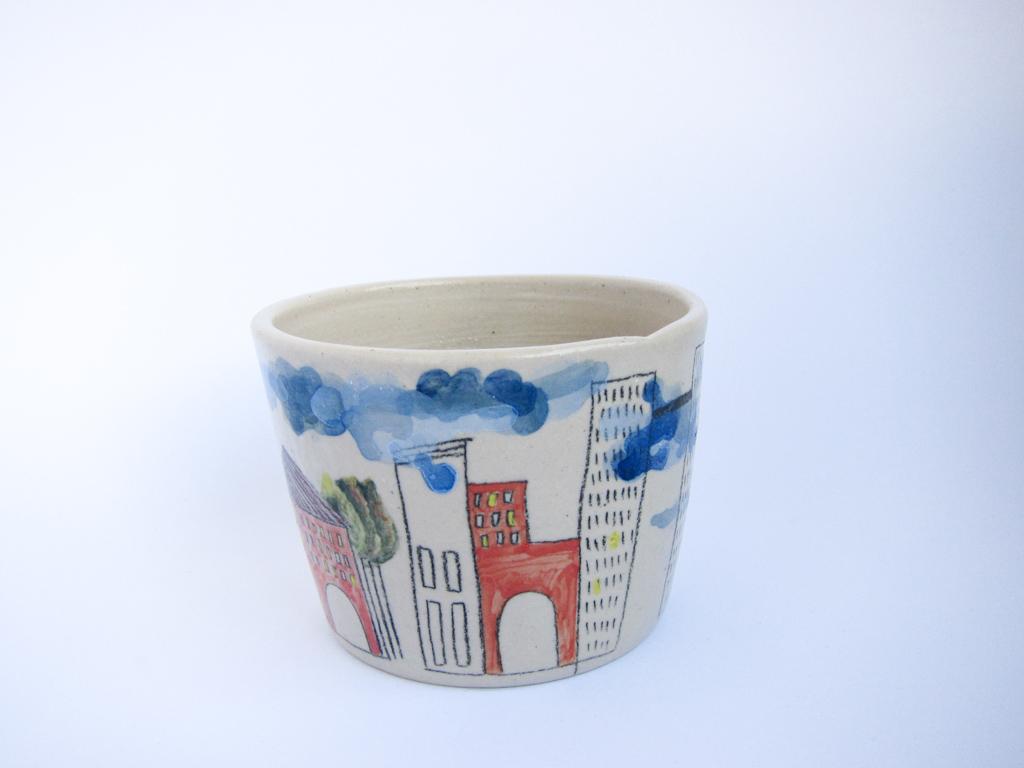 Azzone Alessandra Handmade, blue, ceramics, colours, pottery, red, serving bowl, stoneware, white