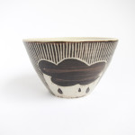 Azzone Alessandra Handmade, black, brush strokes, ceramics, pottery, serving bowl, sgraffito, small, stoneware, white