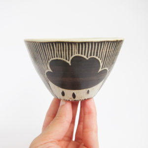 Azzone Alessandra Handmade, black, brush strokes, ceramics, pottery, serving bowl, sgraffito, small, stoneware, white