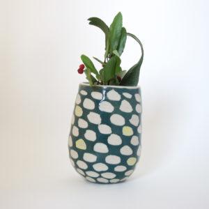 Azzone Alessandra Handmade, carving, ceramics, green, pottery, small, stoneware, vase