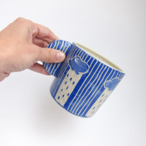 Azzone Alessandra Handmade, blue, ceramics, coffee, sgraffito, stoneware, sunday morning