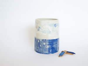 Azzone Alessandra Handmade, blue, ceramics, pitcher, pottery, pourer, sgraffito, stoneware, white